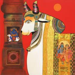 nandi (holly bull), 48 x 48 inch, ashok rathod,paintings,figurative paintings,religious paintings,paintings for dining room,paintings for living room,paintings for bedroom,paintings for office,canvas,acrylic color,48x48inch,GAL0725116123