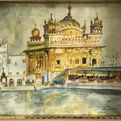 the golden temple, 16 x 12 inch, manvir  kaur,landscape paintings,religious paintings,cartridge paper,watercolor,16x12inch,GAL0725016124