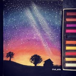the night sky, 7 x 10 inch, manvir  kaur,paintings,cityscape paintings,nature paintings,art deco paintings,photorealism,paintings for dining room,paintings for living room,paintings for bedroom,paintings for office,paintings for bathroom,paintings for kids room,paintings for hotel,paintings for kitchen,paintings for school,paintings for hospital,drawing paper,pastel color,7x10inch,GAL0725016127Nature,environment,Beauty,scenery,greenery