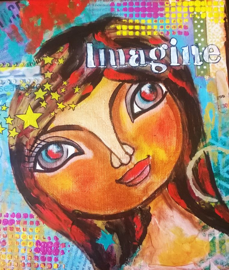 imagine, 8 x 8 inch, baljeet  panaich,pop art paintings,paintings for living room,canvas,mixed media,8x8inch,GAL06081613