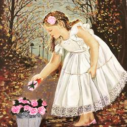 girl plucking flowers , 18 x 24 inch, kangana vohra,paintings,figurative paintings,portrait paintings,children paintings,kids paintings,paintings for living room,paintings for bedroom,paintings for kids room,paintings for school,paintings for living room,paintings for bedroom,paintings for kids room,paintings for school,canvas,acrylic color,18x24inch,GAL0725816144