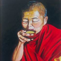 buddhist monk sipping tea, 16 x 20 inch, kangana vohra,paintings,buddha paintings,figurative paintings,portrait paintings,paintings for dining room,paintings for living room,paintings for bedroom,paintings for office,paintings for dining room,paintings for living room,paintings for bedroom,paintings for office,canvas,acrylic color,16x20inch,religious,peace,meditation,meditating,gautam,goutam,buddha,lord,monk,tea,red,black,GAL0725816145