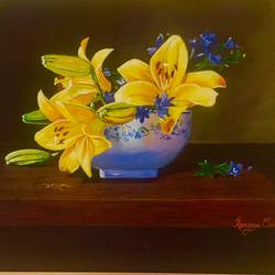 yellow lilly's , 16 x 20 inch, kangana vohra,paintings,flower paintings,still life paintings,paintings for dining room,paintings for living room,paintings for bedroom,paintings for office,paintings for hotel,paintings for hospital,canvas,acrylic color,16x20inch,GAL0725816146