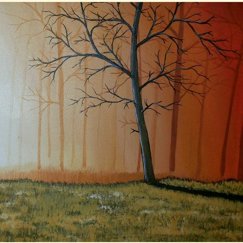 misty forest morning 5, 24 x 12 inch, rajendra prasad,landscape paintings,paintings for living room,canvas,acrylic color,24x12inch,GAL06631615