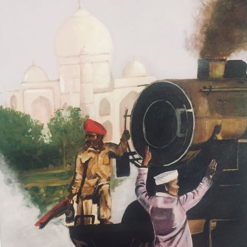 taj mahal and the steam engine, 18 x 24 inch, kangana vohra,paintings,figurative paintings,cityscape paintings,photorealism paintings,paintings for dining room,paintings for living room,paintings for bedroom,paintings for office,paintings for hotel,paintings for school,paintings for hospital,canvas,acrylic color,18x24inch,GAL0725816152
