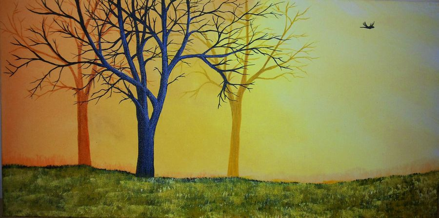 misty forest morning 95, 24 x 12 inch, rajendra prasad,landscape paintings,paintings for living room,canvas,acrylic color,24x12inch,GAL06631616