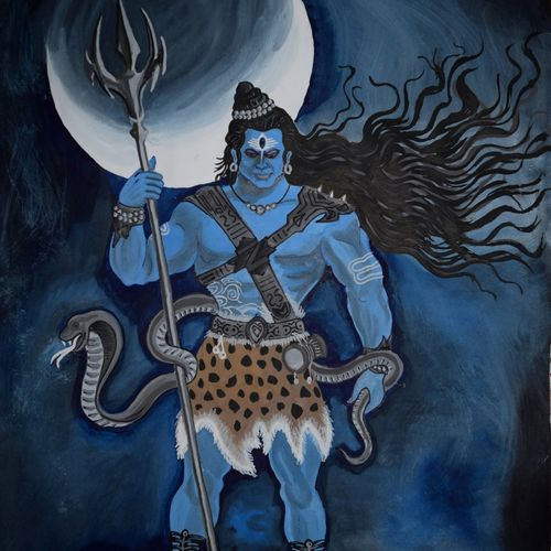 rudra – artistic  of lord mahadev, 13 x 17 inch, prabir barman,paintings,modern art paintings,religious paintings,lord shiva paintings,paintings for dining room,paintings for living room,paintings for bedroom,paintings for hotel,paintings for dining room,paintings for living room,paintings for bedroom,paintings for hotel,paper,watercolor,13x17inch,GAL0625116178