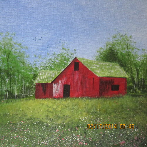 barn house 14, 12 x 9 inch, rajendra prasad,landscape paintings,paintings for living room,canvas,acrylic color,12x9inch,GAL06631618