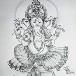 lord ganesha, 13 x 17 inch, prabir barman,drawings,figurative drawings,fine art drawings,paintings for dining room,paintings for living room,paintings for bedroom,paintings for office,paintings for bathroom,paintings for kids room,paintings for hotel,paintings for school,paper,pencil color,13x17inch,GAL0625116184