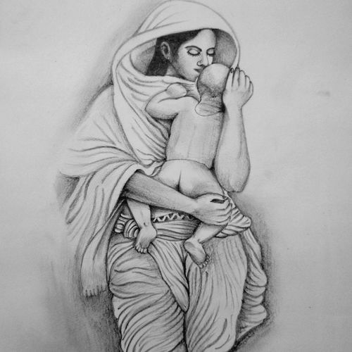 mother's love, 13 x 17 inch, prabir barman,drawings,figurative drawings,fine art drawings,portrait drawings,kids drawings,paintings for dining room,paintings for living room,paintings for bedroom,paintings for kids room,paintings for hotel,paintings for school,paintings for hospital,paper,pencil color,13x17inch,GAL0625116186