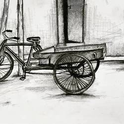 going back home., 8 x 12 inch, swati vohra,drawings,minimalist drawings,realism drawings,drawing paper,charcoal,graphite pencil,8x12inch,GAL0728216189