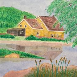 river house 41, 10 x 8 inch, rajendra prasad,landscape paintings,paintings for living room,canvas,acrylic color,10x8inch,GAL06631619