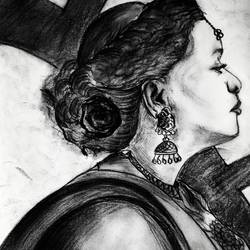 the woman, 8 x 12 inch, swati vohra,drawings,figurative drawings,thick paper,charcoal,8x12inch,GAL0728216192