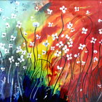blossoms, 12 x 15 inch, amrita das,abstract paintings,paintings for living room,thick paper,acrylic color,12x15inch,GAL050162