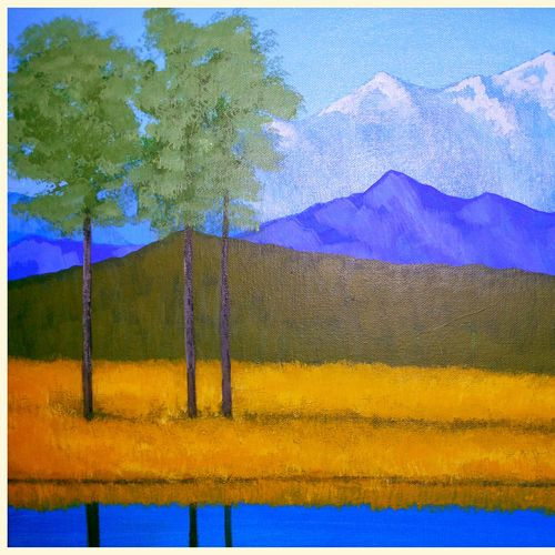 mountain range 32, 24 x 18 inch, rajendra prasad,landscape paintings,paintings for living room,canvas,acrylic color,24x18inch,GAL06631620