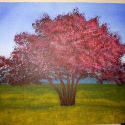 sunny red tree 5, 24 x 18 inch, rajendra prasad,landscape paintings,paintings for living room,canvas,acrylic color,24x18inch,GAL06631621