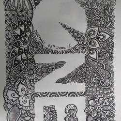 one - doodle art, 6 x 8 inch, deepali singh,drawings,illustration drawings,paper,mixed media,6x8inch,GAL0730116217
