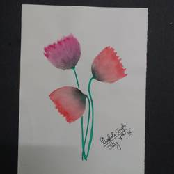 poppy - watercolor, 6 x 8 inch, deepali singh,paintings,flower paintings,paintings for dining room,paintings for living room,paintings for bedroom,paintings for office,paintings for hotel,paintings for hospital,drawing paper,watercolor,6x8inch,GAL0730116218