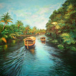 backwaters in kerala, 24 x 18 inch, dipu jose,paintings,paintings for dining room,paintings for living room,paintings for bedroom,paintings for office,paintings for hotel,paintings for dining room,paintings for living room,paintings for bedroom,paintings for office,paintings for hotel,nature paintings,canvas,acrylic color,24x18inch,GAL0727216234Nature,environment,Beauty,scenery,greenery,water,tree,Kerala,houseboat,