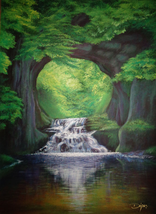 cave waterfalls, 18 x 24 inch, dipu jose,paintings,paintings for dining room,paintings for living room,paintings for bedroom,paintings for office,paintings for hotel,paintings for dining room,paintings for living room,paintings for bedroom,paintings for office,paintings for hotel,nature paintings,canvas,acrylic color,18x24inch,GAL0727216238Nature,environment,Beauty,scenery,greenery,tree,water,beautiful,waterfall