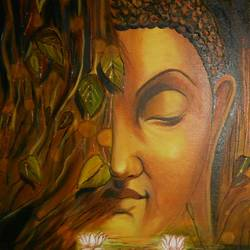 lord gautam buddha, 18 x 18 inch, freni doshi,buddha paintings,paintings for living room,paintings for office,canvas,oil,18x18inch,religious,peace,meditation,meditating,gautam,goutam,buddha,lord,brown,side face,smiling,GAL06111624