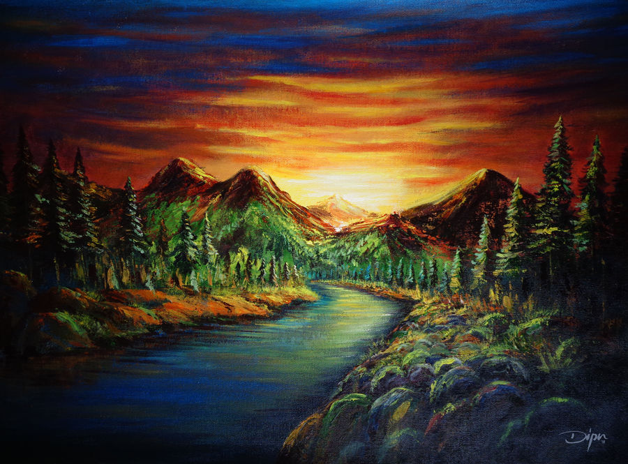 sunset in the valley, 24 x 18 inch, dipu jose,paintings,nature paintings,paintings for dining room,paintings for living room,paintings for bedroom,paintings for office,paintings for hotel,paintings for dining room,paintings for living room,paintings for bedroom,paintings for office,paintings for hotel,canvas,acrylic color,24x18inch,GAL0727216243Nature,environment,Beauty,scenery,greenery,mountain,tree,valley,sunset,