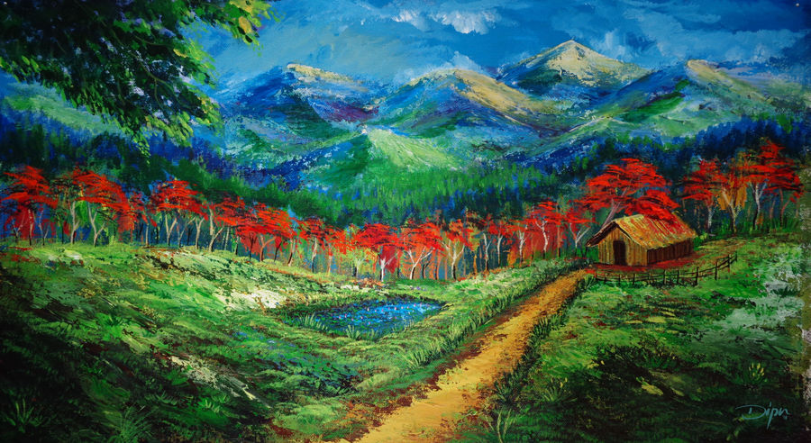 nature painting autumn in the valley, 24 x 14 inch, dipu jose,nature paintings,paintings for dining room,paintings for living room,paintings for bedroom,paintings for office,paintings for hotel,paintings for dining room,paintings for living room,paintings for bedroom,paintings for office,paintings for hotel,canvas,acrylic color,24x14inch,GAL0727216244Nature,environment,Beauty,scenery,greenery,tree,mountain,house,red