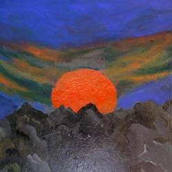 the orange sun, 22 x 28 inch, ravi bedi,paintings,modern art paintings,paintings for dining room,paintings for living room,paintings for bedroom,paintings for office,paintings for bathroom,paintings for hotel,paintings for school,paintings for hospital,thick paper,oil,22x28inch,GAL0715716254