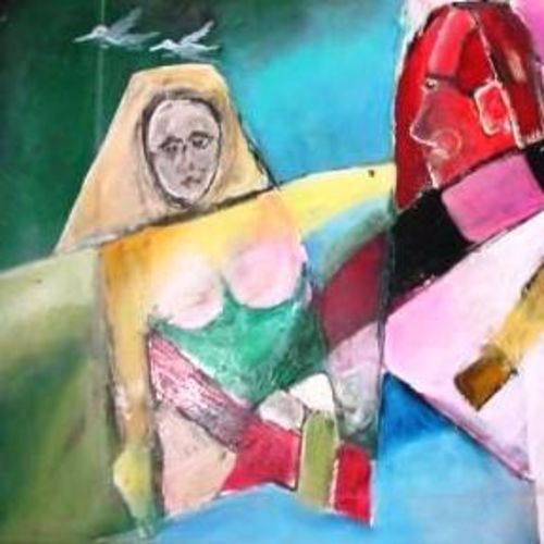 village women , 28 x 22 inch, ravi bedi,modern art paintings,paintings for dining room,paintings for living room,paintings for bedroom,paintings for office,paintings for bathroom,paintings for hotel,paintings for school,thick paper,oil,28x22inch,GAL0715716259