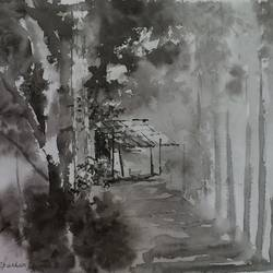 nature painting - village in black shade , 14 x 10 inch, dipankar  biswas,nature paintings,paintings for living room,paintings for living room,handmade paper,watercolor,14x10inch,GAL0293216265Nature,environment,Beauty,scenery,greenery