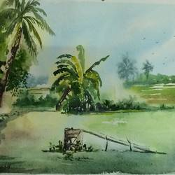 greeny nature painting, 14 x 10 inch, dipankar  biswas,nature paintings,paintings for bedroom,handmade paper,watercolor,14x10inch,GAL0293216266Nature,environment,Beauty,scenery,greenery