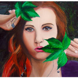 girl with leaf oil colour painting, 20 x 14 inch, rijoy  emmanuel,paintings,figurative paintings,portrait paintings,photorealism,paintings for living room,paintings for bedroom,canvas,oil,20x14inch,GAL0643116289