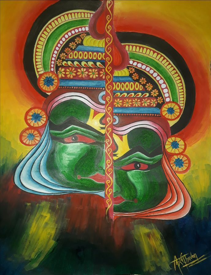 kerala mural painting with acrylics, 11 x 14 inch, kiran chavan,modern art paintings,paintings for living room,figurative paintings,folk art paintings,expressionist paintings,impressionist paintings,contemporary paintings,paintings for dining room,paintings for bedroom,paintings for office,paintings for hotel,paintings for kitchen,paintings for school,paintings for hospital,kerala murals painting,drawing paper,acrylic color,natural color,watercolor,graphite pencil,11x14inch,GAL0732816292