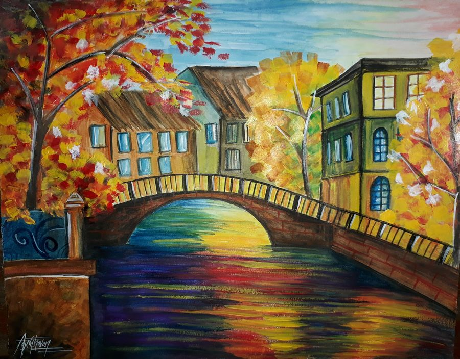 nature painting of autumn, 11 x 14 inch, kiran chavan,cityscape paintings,portraiture,street art,paintings for dining room,paintings for living room,paintings for bedroom,paintings for office,paintings for hotel,paintings for kitchen,paintings for school,paintings for hospital,drawing paper,acrylic color,watercolor,graphite pencil,11x14inch,GAL0732816301