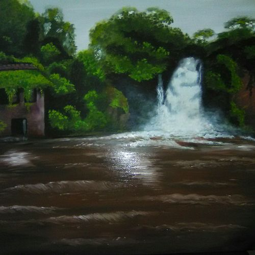 a day at the waterfall, 23 x 23 inch, gargi walia,paintings,nature paintings,paintings for dining room,paintings for living room,paintings for bedroom,paintings for office,paintings for hotel,paintings for dining room,paintings for living room,paintings for bedroom,paintings for office,paintings for hotel,hardboard,oil,23x23inch,GAL0295916307Nature,environment,Beauty,scenery,greenery