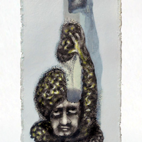 yoga mind 2, 9 x 16 inch, mukesh  tongaria,conceptual paintings,paintings for office,thick paper,mixed media,9x16inch,GAL01421631