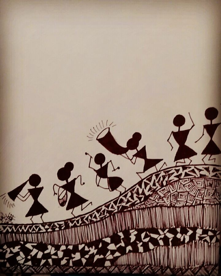 warli art, 21 x 29 inch, kavya sasikumar,drawings,conceptual drawings,figurative drawings,folk drawings,modern drawings,paper,pen color,21x29inch,GAL0731916315