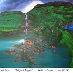 enigmatic trippers, 84 x 66 inch, ajikumar r,paintings,landscape paintings,canvas,acrylic color,84x66inch,GAL0735416323