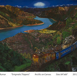 enigmatic trippers2, 84 x 66 inch, ajikumar r,paintings,landscape paintings,canvas,acrylic color,84x66inch,GAL0735416325