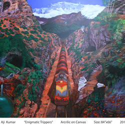 enigmatic trippers, 84 x 66 inch, ajikumar r,paintings,landscape paintings,canvas,acrylic color,84x66inch,GAL0735416326