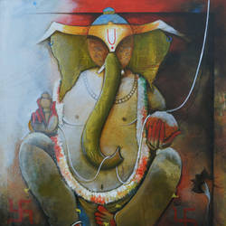 ganpati bappa, 36 x 42 inch, anupam  pal,figurative paintings,paintings for dining room,paintings for living room,paintings for office,paintings for bathroom,paintings for kids room,paintings for hotel,paintings for kitchen,paintings for hospital,ganesha paintings,canvas,acrylic color,36x42inch,GAL08216336,vinayak,ekadanta,ganpati,lambodar,peace,devotion,religious,lord ganesha,lordganpati,ganpati,ganesha,lord ganesh,elephant god,religious,ganpati bappa morya,mouse,mushakraj,ladoo,sweets,ganpati bappa morya,ganesh chaturthi,ganesh murti,elephant god,religious,lord ganesh,ganesha,om,hindu god,shiv parvati, putra,bhakti,blessings,aashirwad,pooja,puja,aarti,ekdant,vakratunda,lambodara,bhalchandra,gajanan,vinayak,prathamesh,vignesh,heramba,siddhivinayak,mahaganpati,omkar,mushak,mouse,ladoo,modak