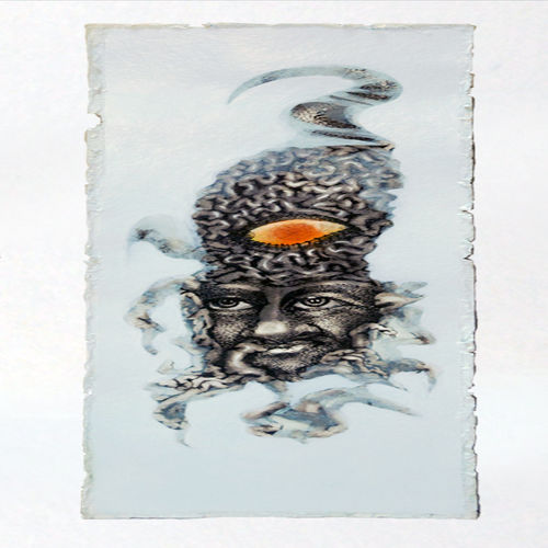yoga mind 4, 9 x 16 inch, mukesh  tongaria,conceptual paintings,paintings for office,thick paper,mixed media,9x16inch,GAL01421634