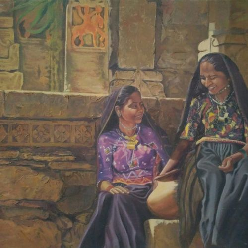 indian shepherd womens, 30 x 30 inch, sanjaysinh jadeja,paintings,still life paintings,canvas,oil,30x30inch,GAL0699116350