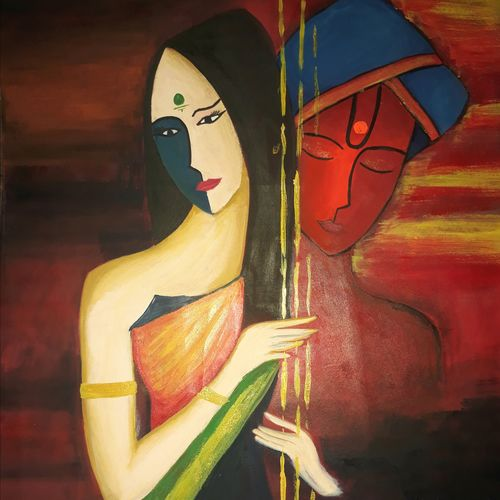 meera's selfless love for krishna, 12 x 15 inch, kiran chavan,modern art paintings,conceptual paintings,abstract expressionist paintings,expressionist paintings,street art,radha krishna paintings,contemporary paintings,love paintings,paintings for dining room,paintings for living room,paintings for bedroom,paintings for hotel,paintings for kitchen,paintings for hospital,thick paper,acrylic color,watercolor,graphite pencil,12x15inch,lord krishna,radha,meera,love,couple,romance,together ,GAL0732816353,radhakrishna,love,pece,lordkrishna,,lordradha,peace,flute,music,radha,krishnaheart,family,caring,happiness,forever,happy,trust,passion,romance,sweet,kiss,love,hugs,warm,fun,kisses,joy,friendship,marriage,chocolate,husband,wife,forever,caring,couple,sweetheart