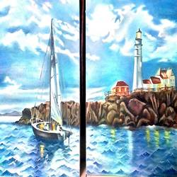 seascape- night by the moonlit sea, 36 x 24 inch, archna  singh,paintings for dining room,paintings for living room,paintings for bedroom,paintings for office,paintings for hotel,paintings for hospital,photorealism,pop art paintings,portraiture,realism paintings,contemporary paintings,paintings for kids room,paintings for school,multi piece paintings,canvas,oil,36x24inch,GAL0271116356