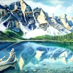 landscape, lake moraine, 48 x 36 inch, archna  singh,paintings,landscape paintings,paintings for dining room,paintings for living room,paintings for bedroom,paintings for office,paintings for kids room,paintings for hotel,paintings for school,paintings for hospital,canvas,oil,48x36inch,GAL0271116357