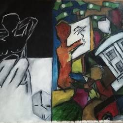 dream or depression, 52 x 37 inch, mahipatsinh p  solanki,paintings,expressionist paintings,canvas,oil,52x37inch,GAL0737516363