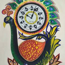 peacock clock, 15 x 22 inch, nikita  kushwaha,paintings,street art,animal paintings,paintings for dining room,paintings for living room,paintings for bedroom,thick paper,acrylic color,15x22inch,GAL0728016369