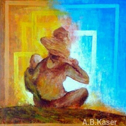 looking beyond, 9 x 9 inch, a.b.  kaser,paintings for living room,figurative paintings,thick paper,acrylic color,9x9inch,GAL06361637