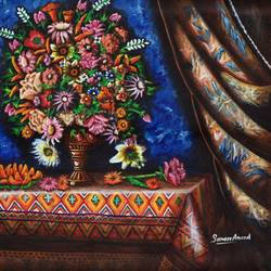 flower vase, 24 x 24 inch, samit kumar,paintings,flower paintings,paintings for living room,paintings for hotel,canvas,acrylic color,24x24inch,GAL0443416370